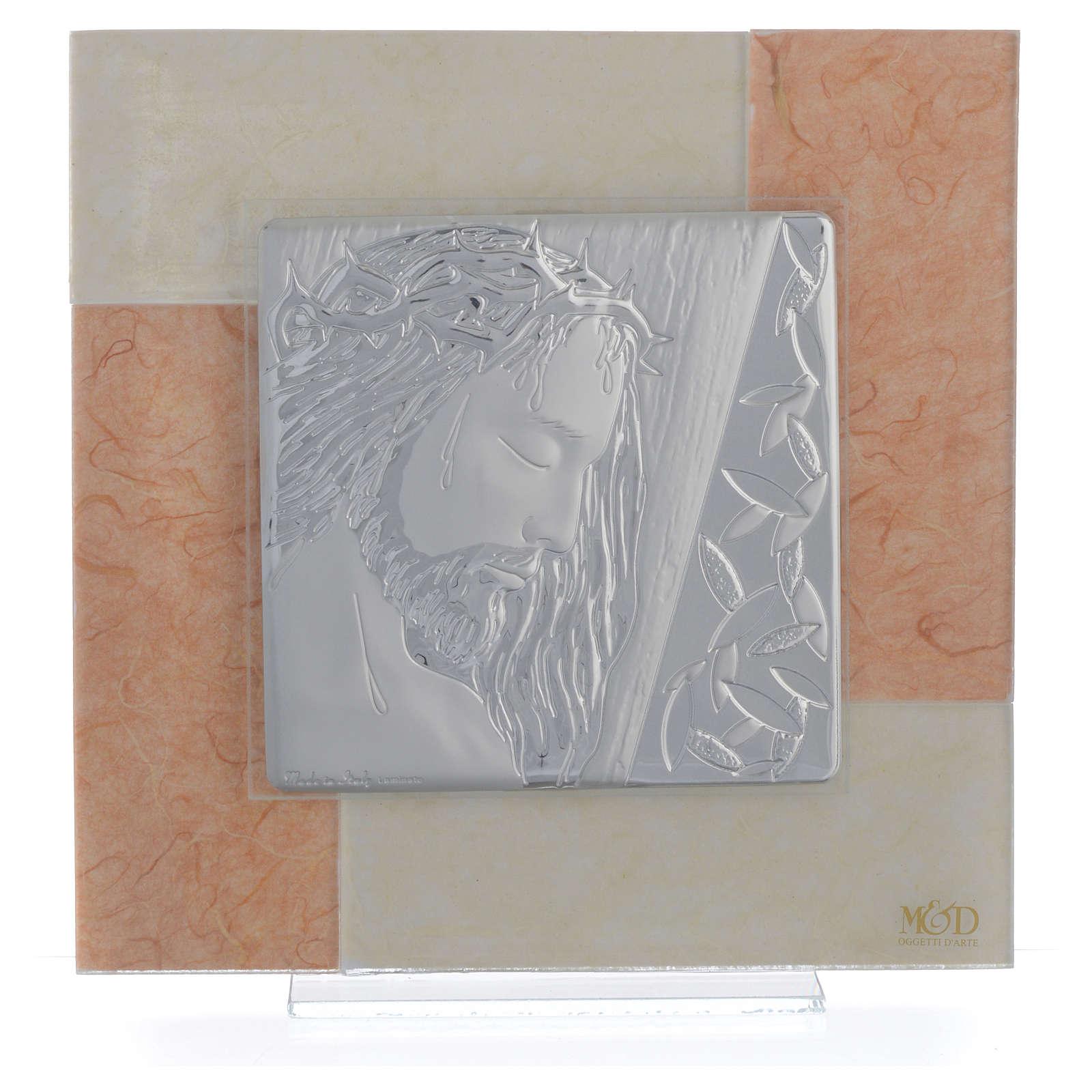 Quadro Cristo avorio - tabacco 20x20 cm 3