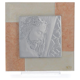 Quadro Cristo avorio - tabacco 20x20 cm s1