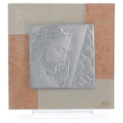 Quadro Cristo avorio - tabacco 20x20 cm 1