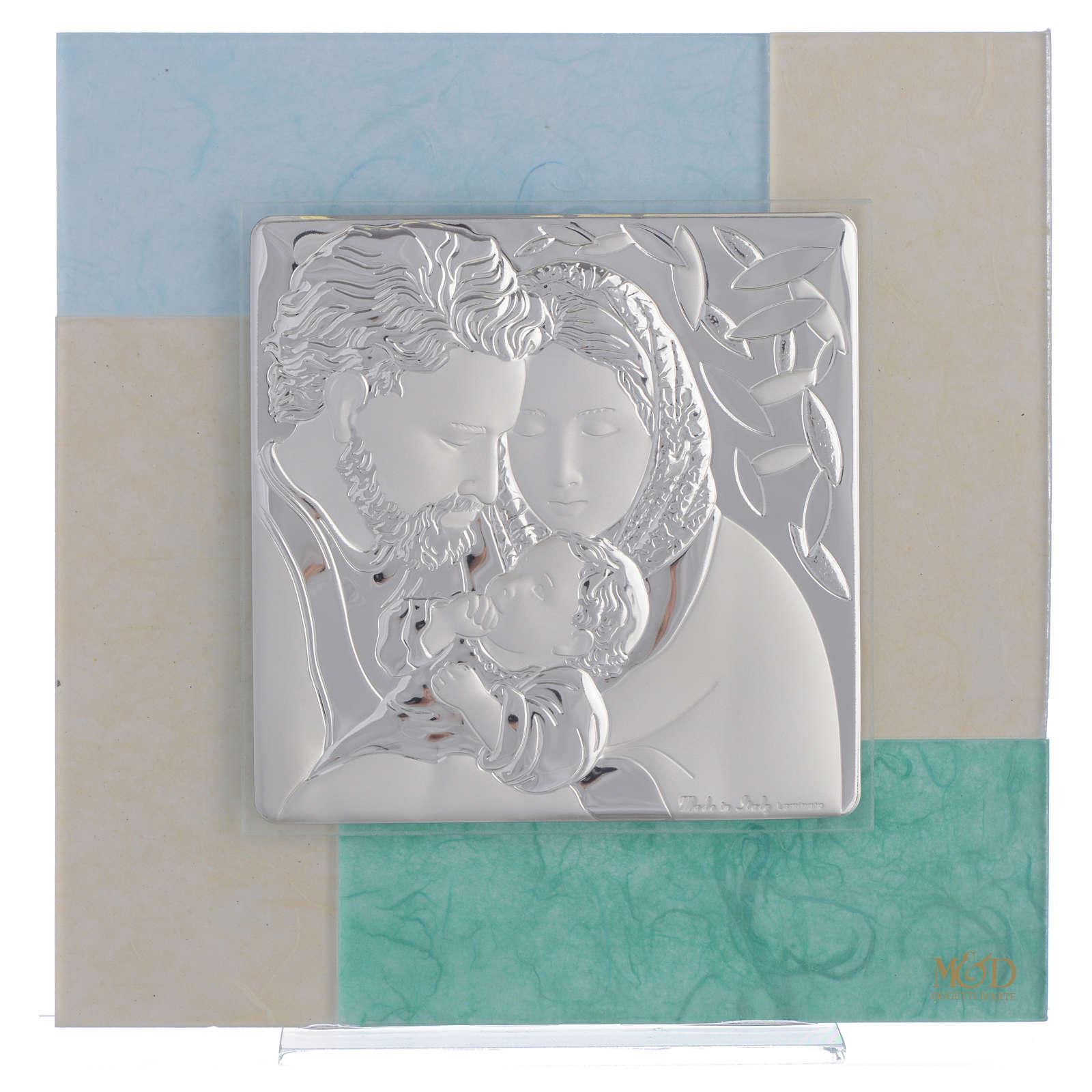 Quadro Matrimonio S. Famiglia celeste verde 20x20 cm 3