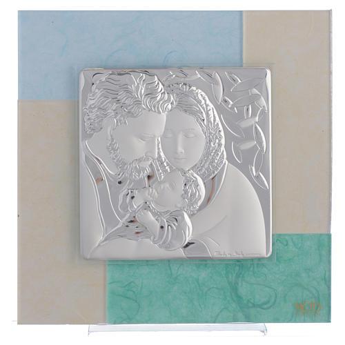 Quadro Matrimonio S. Famiglia celeste verde 20x20 cm 1