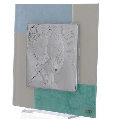 Quadro Matrimonio S. Famiglia celeste verde 20x20 cm 2
