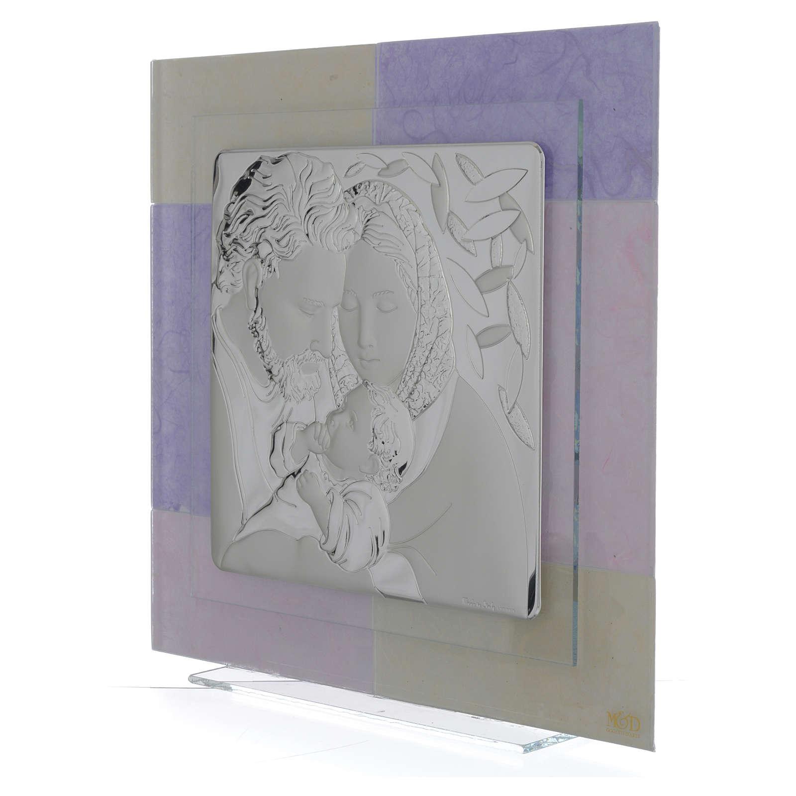 Quadro S. Famiglia rosa - lilla 30x30 cm 3