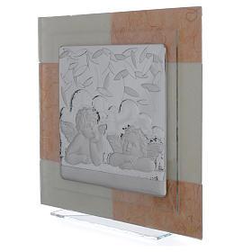 Cadre anges ivoire-brun 30x30 cm s2