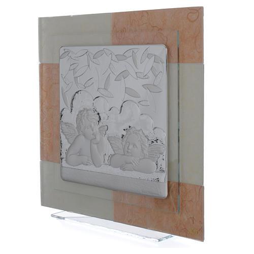 Cadre anges ivoire-brun 30x30 cm 2