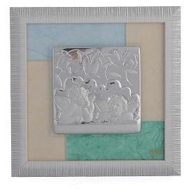 Cadre anges bleu-vert 23,5x23,5 cm s1