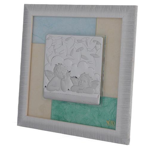 Cadre anges bleu-vert 23,5x23,5 cm 2