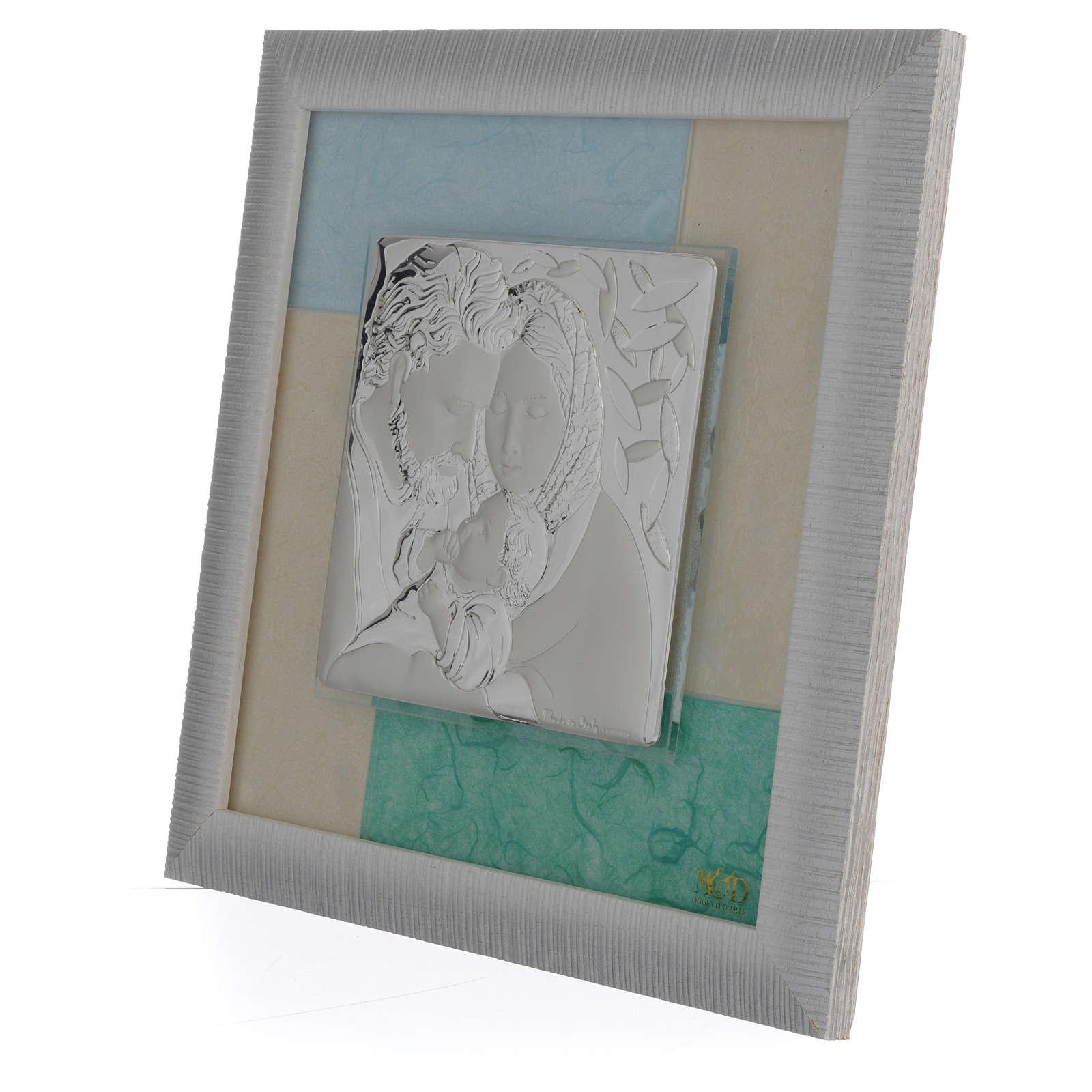 Quadro S. Famiglia Celeste - Verde 23,5x23,5 cm 3