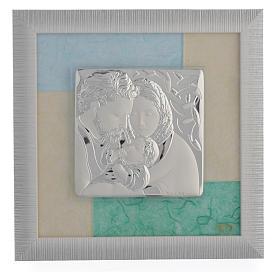 Quadro S. Famiglia Celeste - Verde 23,5x23,5 cm s1
