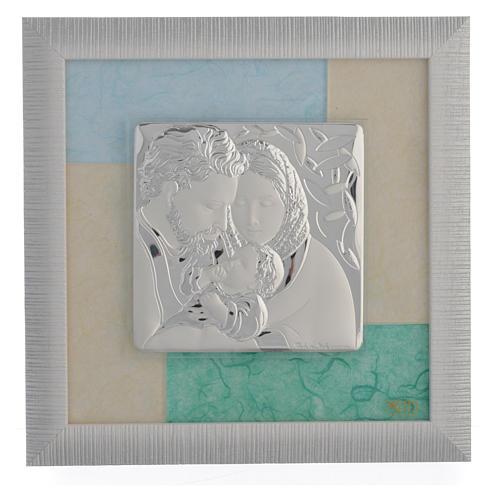 Quadro S. Famiglia Celeste - Verde 23,5x23,5 cm 1