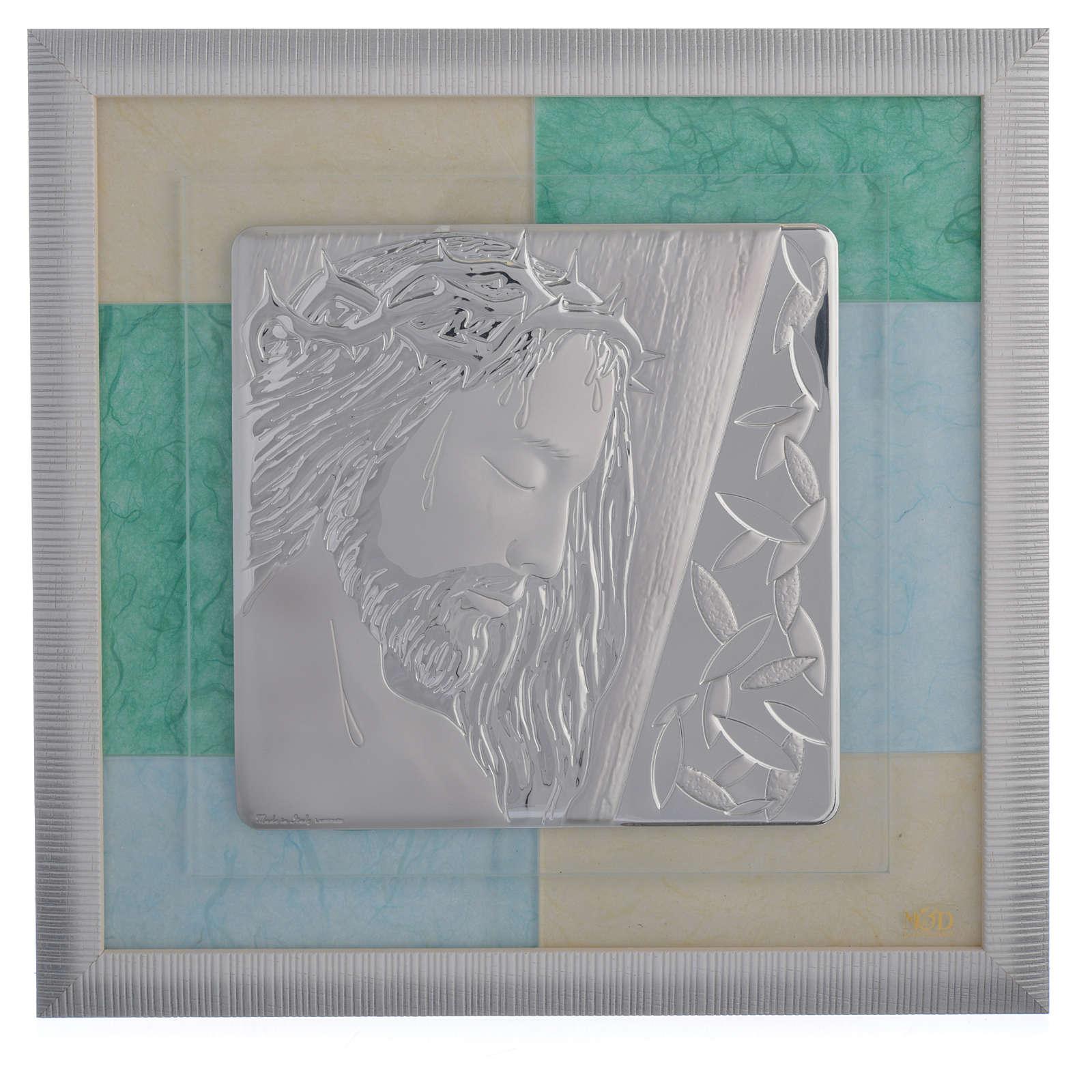 Cuadro Jesucristo celeste-verde 33x34 cm 3