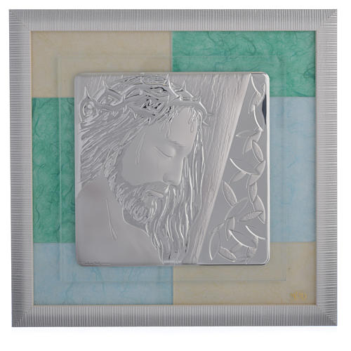 Cuadro Jesucristo celeste-verde 33x34 cm 1