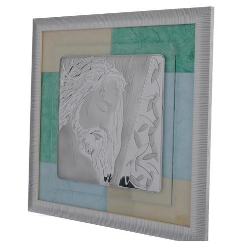 Cuadro Jesucristo celeste-verde 33x34 cm 2
