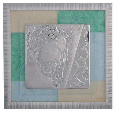 Quadro Cristo celeste-verde 33x34 cm 1