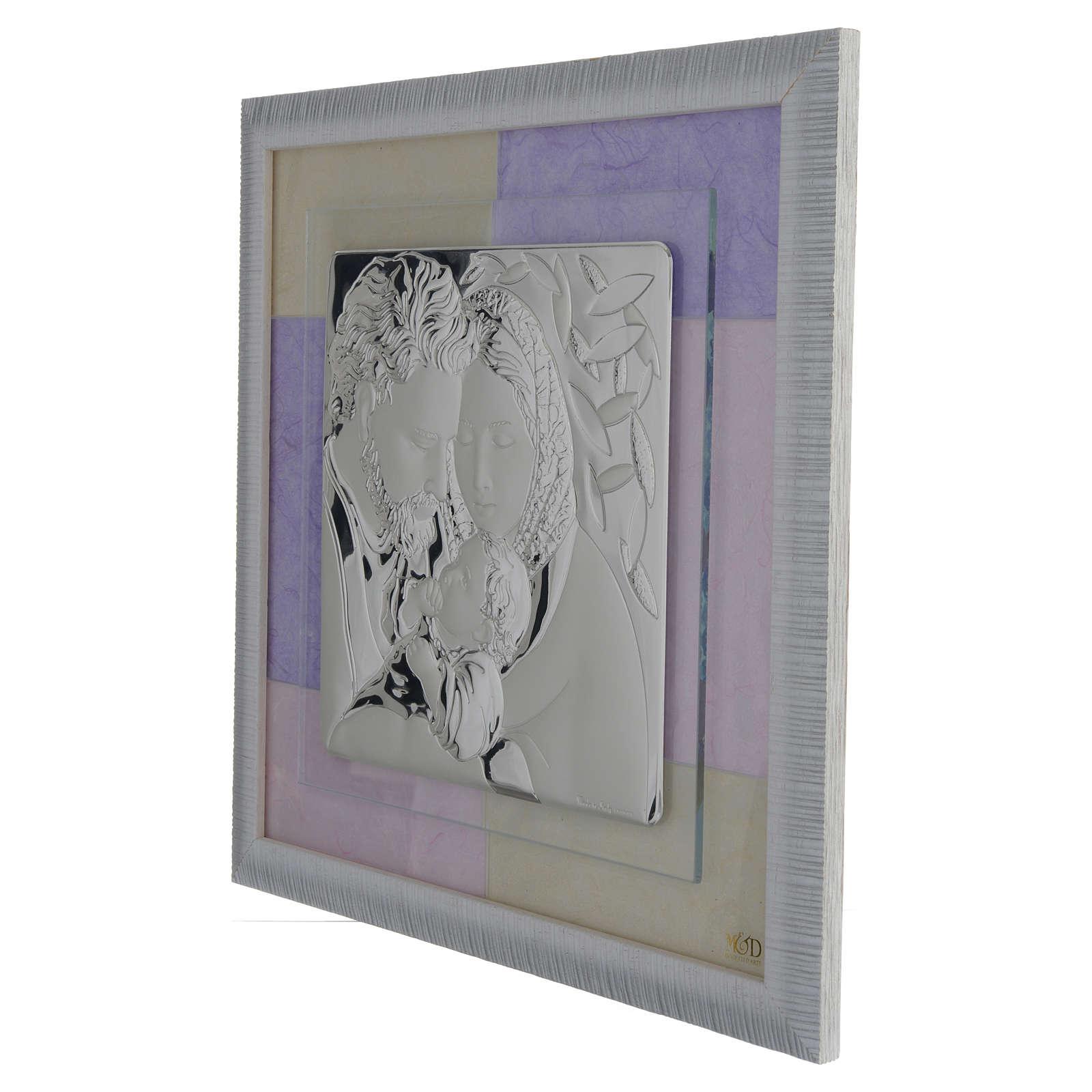 Quadro S. Famiglia rosa - lilla 33x34 cm 3