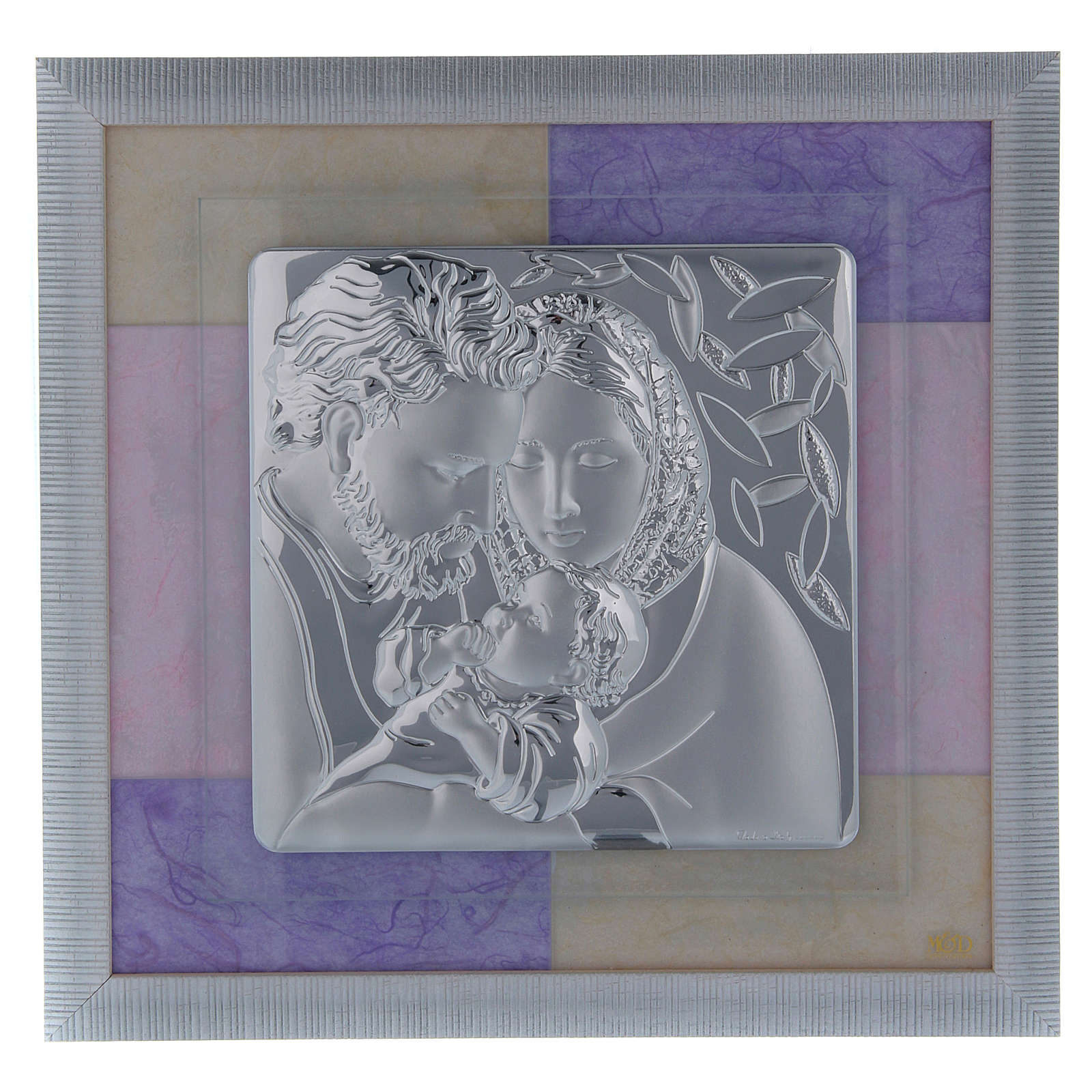 Holy Family picture favour in pink and purple and silver 33x34cm 3