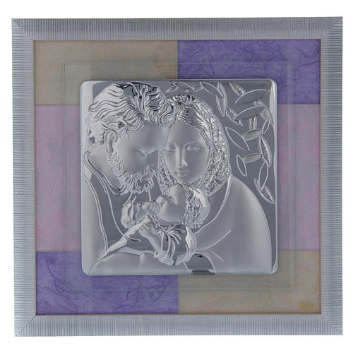 Holy Family picture favour in pink and purple and silver 33x34cm 1