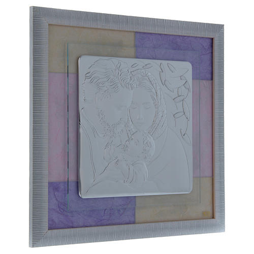 Holy Family picture favour in pink and purple and silver 33x34cm 4