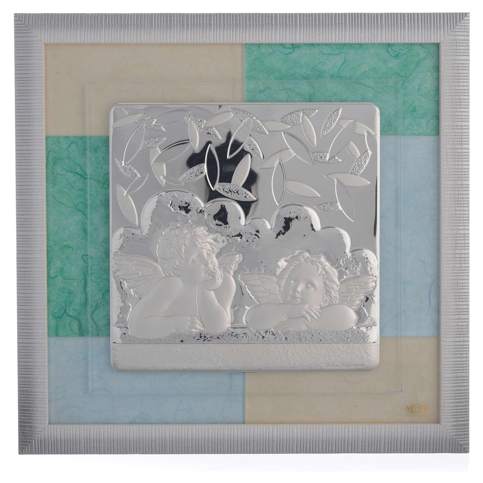 Cadre Baptême bleu-vert 33x34 cm 3