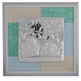 Cadre Baptême bleu-vert 33x34 cm s1