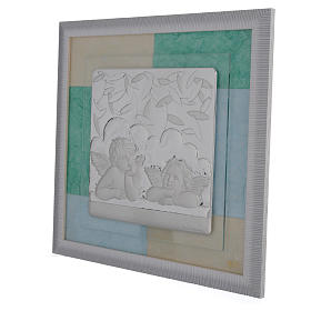 Cadre Baptême bleu-vert 33x34 cm s2