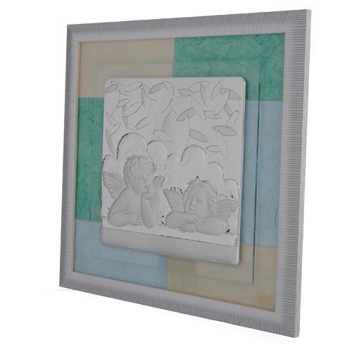 Cadre Baptême bleu-vert 33x34 cm 2