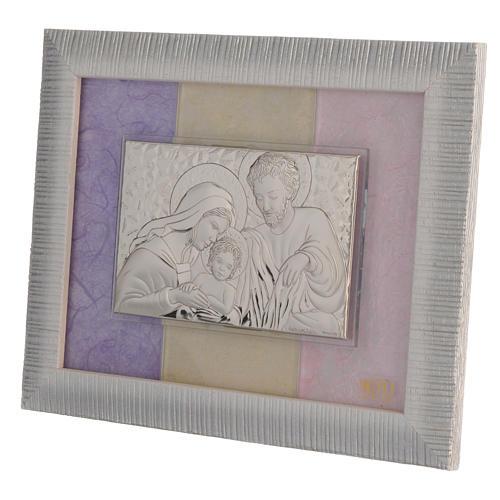 Quadro S. Famiglia Argento rosa - lilla 18x22 cm 2