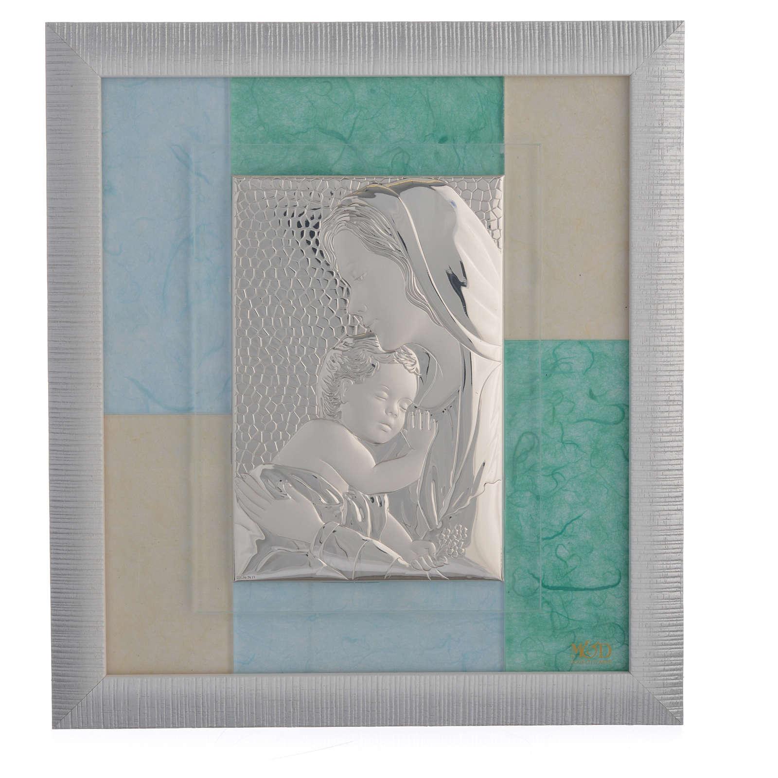 Cadre Naissance bleu-vert 29x26 cm 3