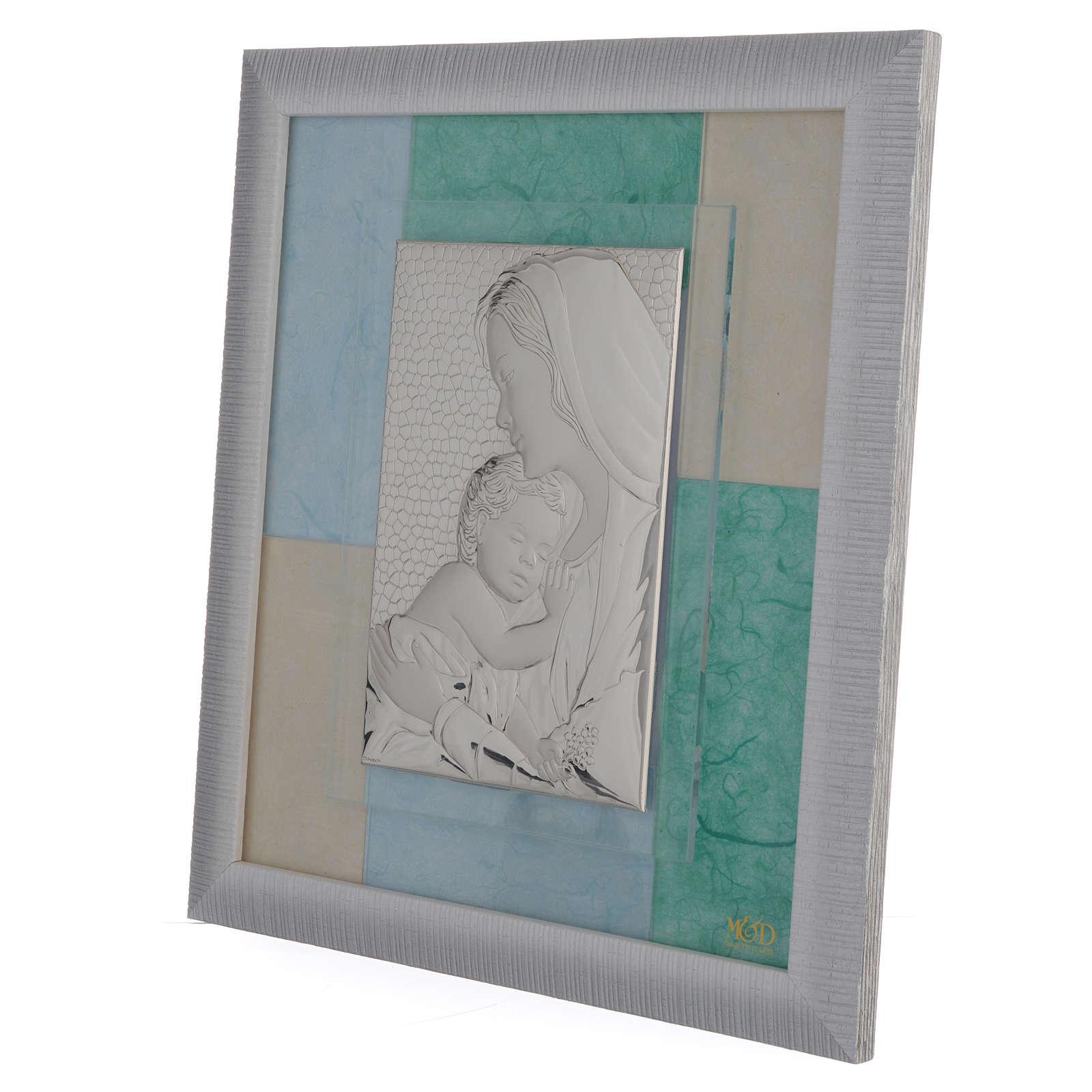 Quadro Nascita celeste - verde 29x26 cm 3