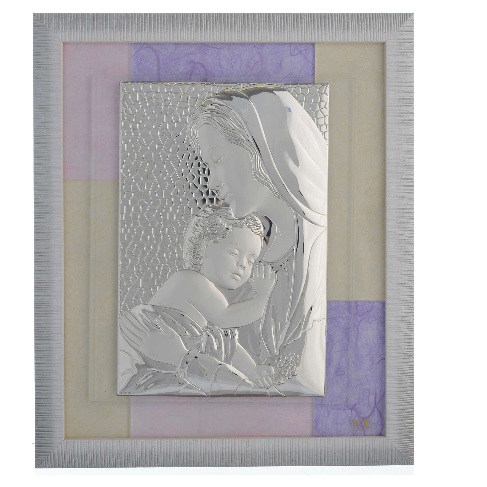 Holy Family picture favour in pink and purple and silver 29x26cm 3