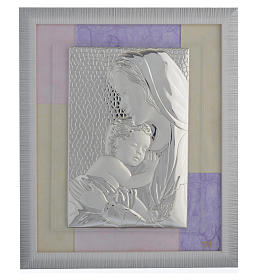 Holy Family picture favour in pink and purple and silver 29x26cm s1