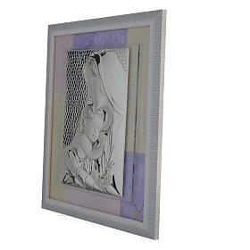 Holy Family picture favour in pink and purple and silver 29x26cm s2