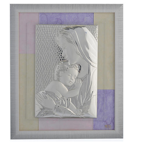 Holy Family picture favour in pink and purple and silver 29x26cm 1