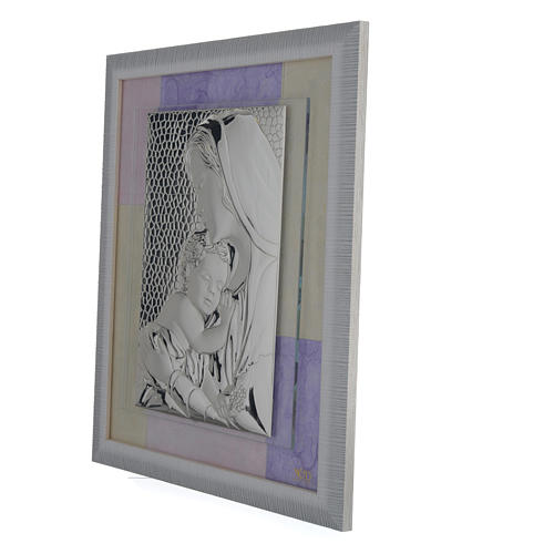 Holy Family picture favour in pink and purple and silver 29x26cm 2