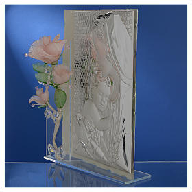 Cadre Maternité trois roses verre Murano rose 16x24 cm s4