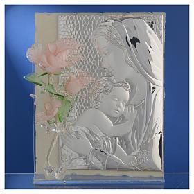 Quadro Maternità tre rose vetro Murano rosa 16x24 cm s2