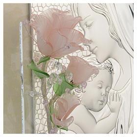 Quadro Maternità tre rose vetro Murano rosa 16x24 cm s3