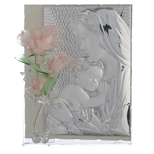 Quadro Maternità tre rose vetro Murano rosa 16x24 cm 1