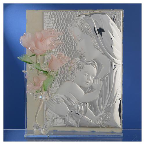 Quadro Maternità tre rose vetro Murano rosa 16x24 cm 2