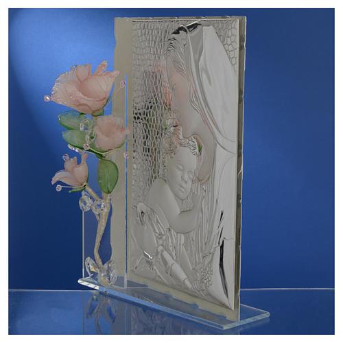 Quadro Maternità tre rose vetro Murano rosa 16x24 cm 4