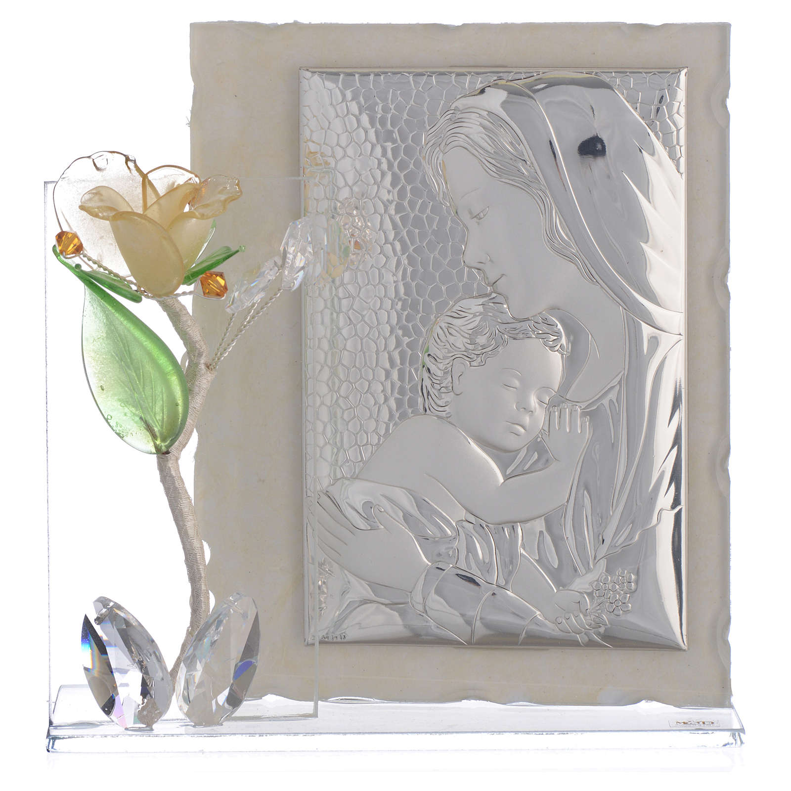 Cadre Maternité avec rose ambre verre Murano 8x12 cm 3