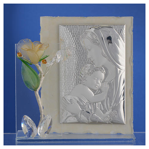 Cadre Maternité avec rose ambre verre Murano 8x12 cm 2