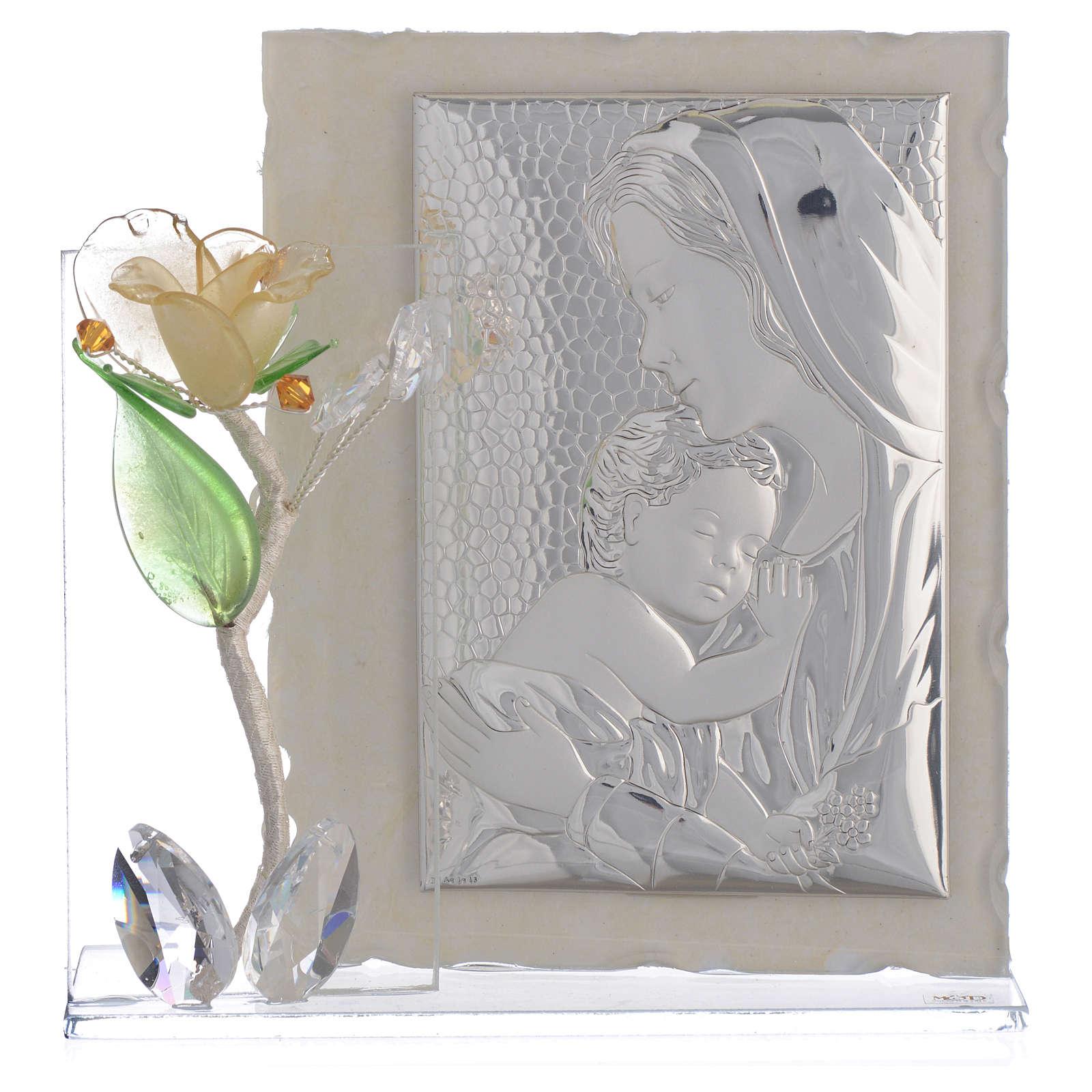 Quadro Maternità con rosa Ambra vetro Murano 8x12 cm 3