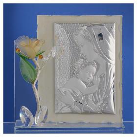 Quadro Maternità con rosa Ambra vetro Murano 8x12 cm s2