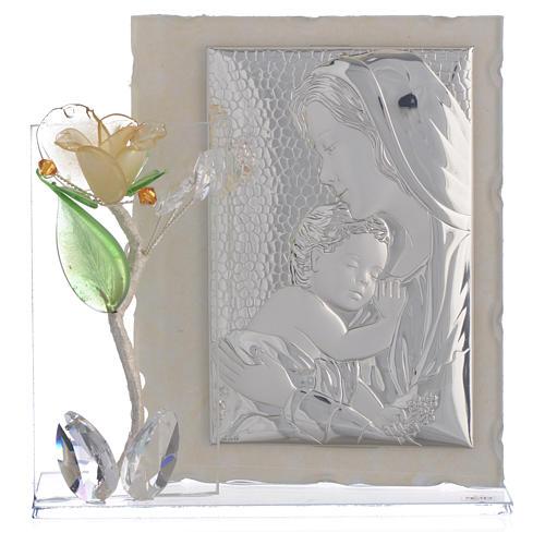 Quadro Maternità con rosa Ambra vetro Murano 8x12 cm 1
