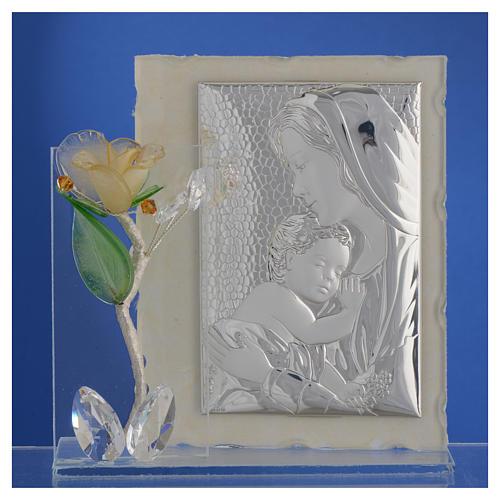 Quadro Maternità con rosa Ambra vetro Murano 8x12 cm 2