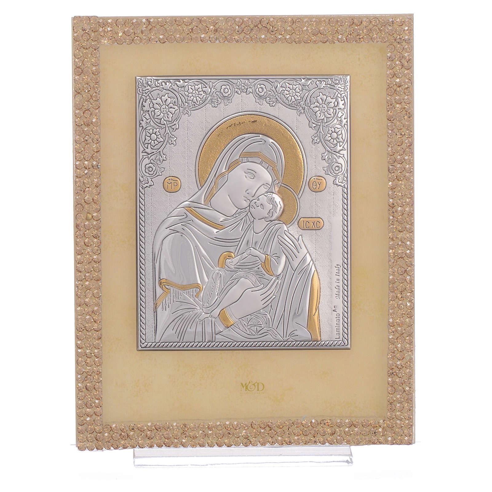 Quadretto Maternità ortodosso Swarovski Oro 14x11 cm 3