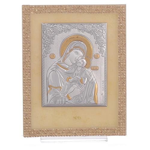 Quadretto Maternità ortodosso Swarovski Oro 14x11 cm 1