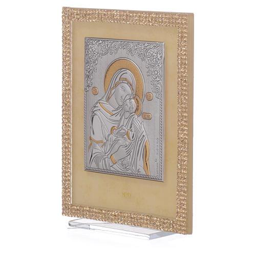 Quadretto Maternità ortodosso Swarovski Oro 14x11 cm 2