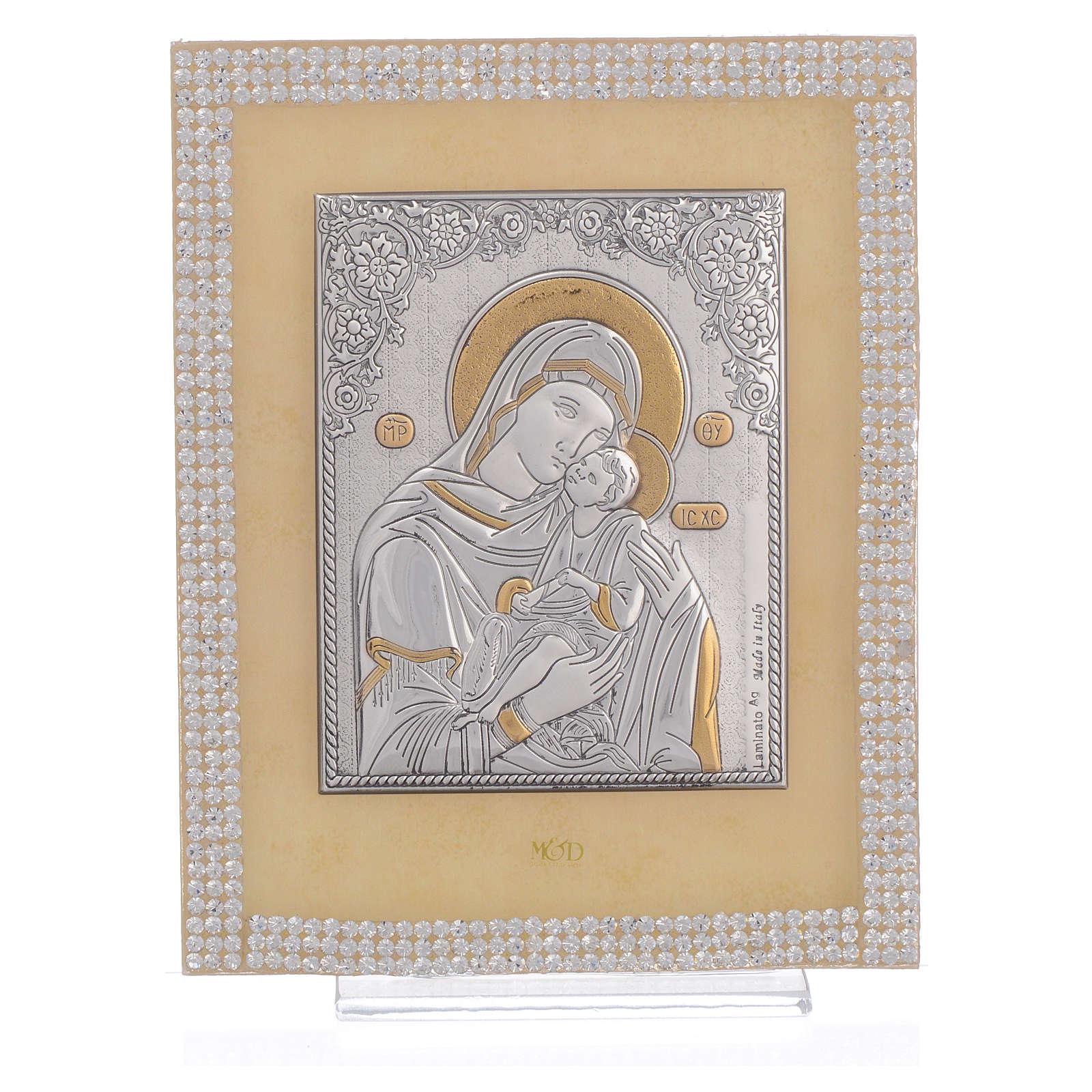 Quadro Maternità ortodosso Swarovski Bianchi 14x11 cm 3